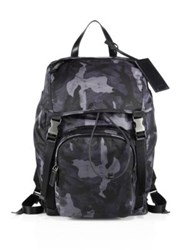 Prada Technical Fabric And Leather Trimmed Backpack Blue