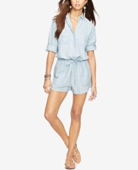 Denim And Supply Ralph Lauren Linen Chambray Romper Workwear Wash