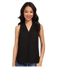 Vince Camuto Sleeveless V Neck Blouse W Inverted Front Pleat Rich Black Women's Blouse