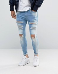 11 Degrees Super Skinny Jeans With Distressing Blue