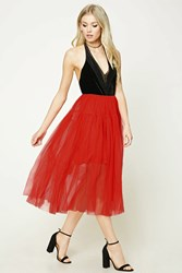 Forever 21 Pleated Tulle Skirt Red