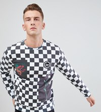 Hype Sweatshirt With Checkerboard Print Exclusive To Asos White