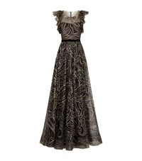Jenny Packham Ruffle Tulle Gown Female Black