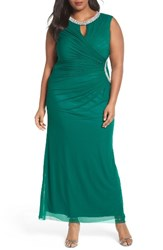 Marina Plus Size Women's Embellished Faux Wrap Gown