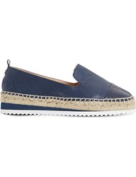 Dune Guest Contrast Toe Leather Espadrilles Navy Leather