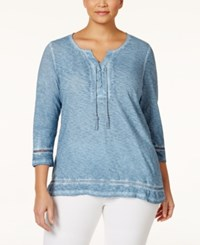 Styleandco. Style And Co. Plus Size Lace Up Three Quarter Sleeve Peasant Top Only At Macy's Blue Fog