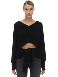 Alexander Wang Self Tied V Neck Wool Blend Sweater Black