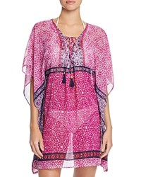 Tommy Bahama Geo Lace Up Tunic Swim Cover Up Pink