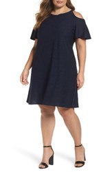 Gabby Skye Plus Size Women's Knit Cold Shoulder Trapeze Dress