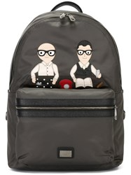 Dolce And Gabbana 'Volcano' Designers Patch Backpack Grey