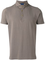 Barba High Neck Polo Shirt Brown