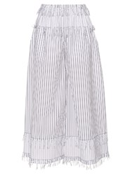 Cedric Charlier Pinstriped Frayed Wide Leg Cotton Trousers White Black