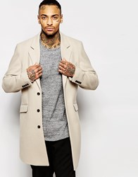 Asos Wool Overcoat In Stone