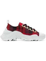 N 21 No21 Chunky Sole Check Sneakers Red