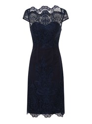 Chi Chi London Embroidered Cap Sleeve Bodycon Dress Navy