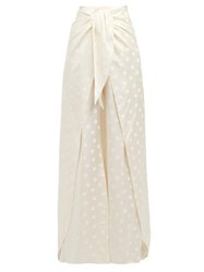 Johanna Ortiz When Sky Is Clear Polka Dot Satin Trousers Ivory