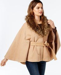 Inc International Concepts Belted Fur Trim Cape Only At Macy's Light Chestnut