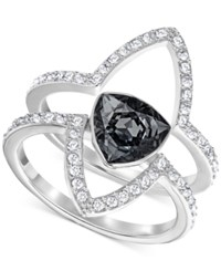 Swarovski Silver Tone 2 Pc. Set Black Crystal And Pave Statement Rings