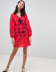 Pepe Jeans Kate Embroidered Tunic Dress Red Hot