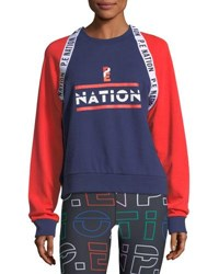 Pe Nation The Wembley Raglan Colorblocked Sweatshirt Blue Red