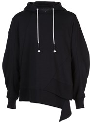 Mostly Heard Rarely Seen Staggered Hem Hoodie Black