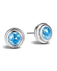 John Hardy Sterling Silver Bedeg Stud Earrings With Swiss Blue Topaz No Color