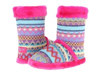 Mandf Western Knit Print Bootie Slippers Hot Pink