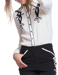 Plenty By Tracy Reese Long Sleeve Contrast Embroidered Shirt Ivory