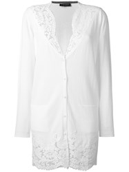 Twin Set Lace Detailing Buttoned Cardigan White