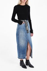 Helmut Lang Women S Asymmetric Waist Denim Skirt Boutique1 Blue
