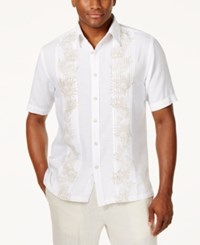 Tasso Elba Island Linen Palm Printed Pintucked Shirt Created For Macy's White Combo