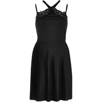 River Island Womens Black Pleated Cross Back Lace Dress