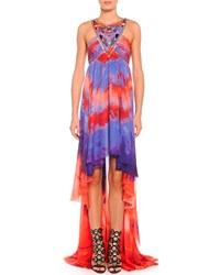 Emilio Pucci Tie Dye Chiffon High Low Halter Gown Purple Red Tie Dy