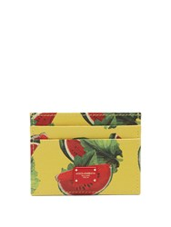 Dolce And Gabbana Watermelon Print Leather Cardholder Yellow Multi