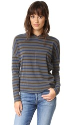 Stateside Long Sleeve Stripe Hoodie Charcoal