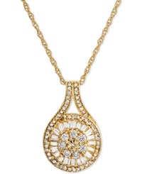 Macy's Diamond Baguette Cluster Pendant Necklace 1 2 Ct. T.W. Yellow Gold Silver