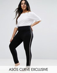 Asos Curve Legging With Deep Waistband And Sporty Side Stripe Black