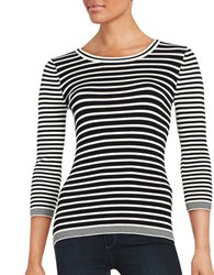 Karl Lagerfeld Striped Knit Sweater Soft White Black