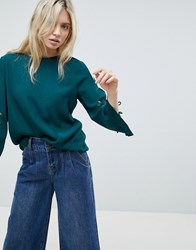 Minimum Embroidered Sleeve Top Teal Green