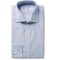 Turnbull And Asser Storm Blue Checked Cotton Poplin Shirt