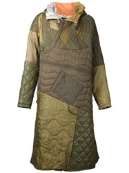 Mhi Maharishi Paneled Quilted Long Hooded Coat Green