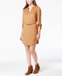 Almost Famous Juniors' Faux Suede Mandarin Collar Dress