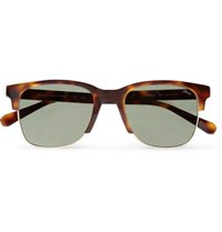 Brioni Square Frame Tortoiseshell Acetate And Gold Tone Sunglasses Brown