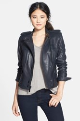 Vince Camuto Lambskin Leather Moto Jacket Blue