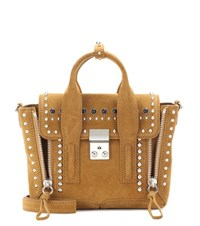 3.1 Phillip Lim Pashli Medium Embellished Suede Tote Brown