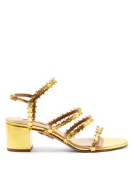 Aquazzura Starlight Block Heel Leather Sandals Gold