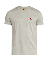 Burberry Tunworth Logo Embroidered Cotton T Shirt Grey