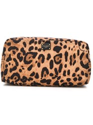 Dolce And Gabbana Leopard Print Make Up Bag Brown