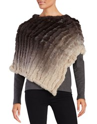 La Fiorentina Ombre Rabbit Fur Poncho Brown