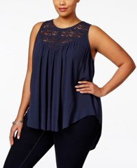 Eyeshadow Plus Size Sleeveless Crochet Trim Textured Top